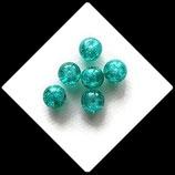 Perle en verre ronde givré 8 mm vert d'eau X 6 perles Réf : 384