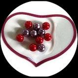 Lot de 11 perles de verre nacrées rouge et mauve 10 mm création bijoux Réf : 1561