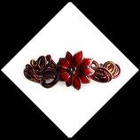 Barrette à cheveux  enfant fil aluminium et fleur rouge et or