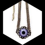 Collier gothique réglable oeil violet - ras du cou