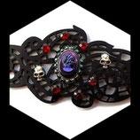 Bracelet gothique camée, tête de mort, strass fait main.