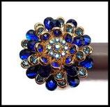 Grosse bague élastique 3D strass bleus métal doré BAG079