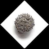 bouton snap strass blancs 20 mm pour bijoux snap chunk - Réf : 1457.