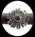 Bague fantaisie réglable strass ronde, support métal argenté BAG098