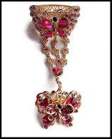Ensemble bracelet bague papillon strass roses, métal doré BRA008