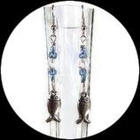 Boucles oreilles poisson métal, perles.