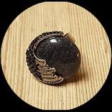 Bague réglable cabochon noir et strass BAG012