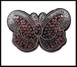 Applique papillon sequins roses et argent lot de deux appliques APP044