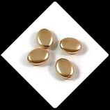 Palet ovale nacré 12 x 9 mm or X 4 perles palets Réf : 713