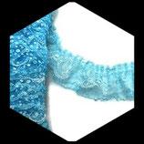 Volant dentelle blanche et plumetis bleu pailleté 6 cm X 1 m DEN035