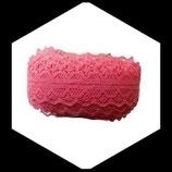Dentelle polyester rouge pastèque  3 cm X  9 m  DEN044