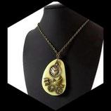 collier pendentif style steampunk - oiseau, livre engrenages métal bronze - bijou artisanal