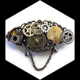 barrette pince à cheveux steampunk bronze et cuivre cadran doré véritable