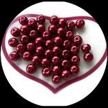 lot de 20 perles nacrées bordeaux 8 mm création bijoux Réf : 1526