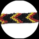 Bracelet manchette perles de rocaille tissées jaune, rouge, noire fait main.