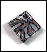 Pendentif verre lampwork   carré larmes argentées 47 x 47 mm PEN012