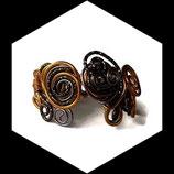 bracelet manchette aluminium marron perle doré fait main