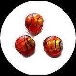 Perles palets de verre feuille d'argent rouge zébré 20 mm, lot de 3 palets Réf : 899