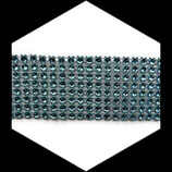 Ruban strass bleu turquoise 8 rangs 4 cm X 1 mètre STRA025