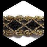 Galon or, noir à sequins 5.5 cm vendu au mètre GAL006