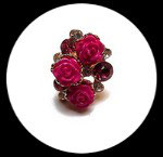 Bague réglable dorée roses et strass roses BAG049