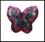 Applique papillon sequins multicolores lot de deux appliques APP045