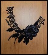Faux col à coudre en dentelle rose noire brodée FCO013
