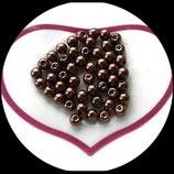 lot de 25 perles nacrées marron  6 mm création bijoux Réf : 1546