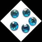 Strass turquoise rond à coller 16 mm X 5. STR036