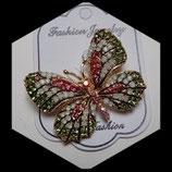 Broche papillon vert à strass BRO034