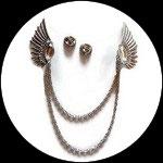 Clip chaîne ailes métal argenté, strass pour veste CLI001