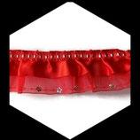 Volant organza et satin rouge brodé sequins 45 mm DEN063