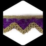 Galon organza violet et or à sequins 6 cm vendu au mètre GAL008