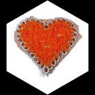 Applique coeur fleurs organza orange, sequins oranges et galon  APP070