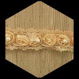 Dentelle marron beige fleurs et perles blanches 3 cm X 50 cm DEN015