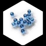 Perles de verre 4 mm aqua marine, lot de 25 perles Réf : 1373