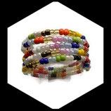 bracelet 5 rangs perles rocaille multicolore en verre fait main.