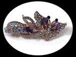 barrette pince à cheveux papillon violet strass et nacre BAR008