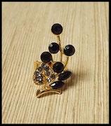 Bague réglable dorée strass couleur noire BAG022