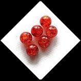 Perle en verre ronde givrée 8 mm orange X 6 perles Réf : 381