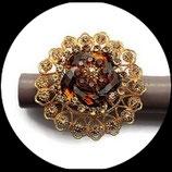 Grosse bague élastique 3D strass ambre métal doré BAG081