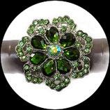 Grosse bague élastique fleur 3D strass verts métal argenté BAG150