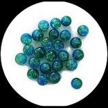 Perle en verre ronde givrée 6 mm bicolore vert et turquoise ou perle craquelée  lot de 25 Réf : 1015