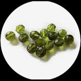 Perles de verre à facettes vert kaki transparent  8 X 7 mm, lot de 14 perles Réf : 882