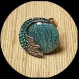 Bague réglable cabochon turquoise et strass BAG013