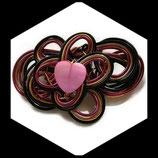 Broche coeur rose en fil aluminium fait main