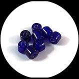 Perle  tube  bleu x 8 - lot 8 perles en verre tube bleu - fourniture création bijoux - réf : 1399