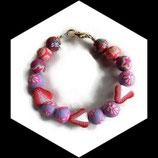 Bracelet gourmand enfant  fraise perles fleuries en fimo