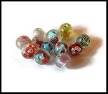 Perles verre rondes mélange- lot 12 perles verre rondes en mélange Réf 1393