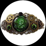 Bracelet steampunk oeil vert, serpent fait main.